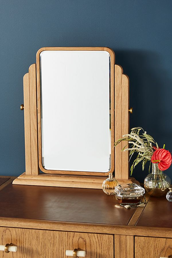 Slide View: 1: Soho Home x Anthropologie Oak Vanity Mirror