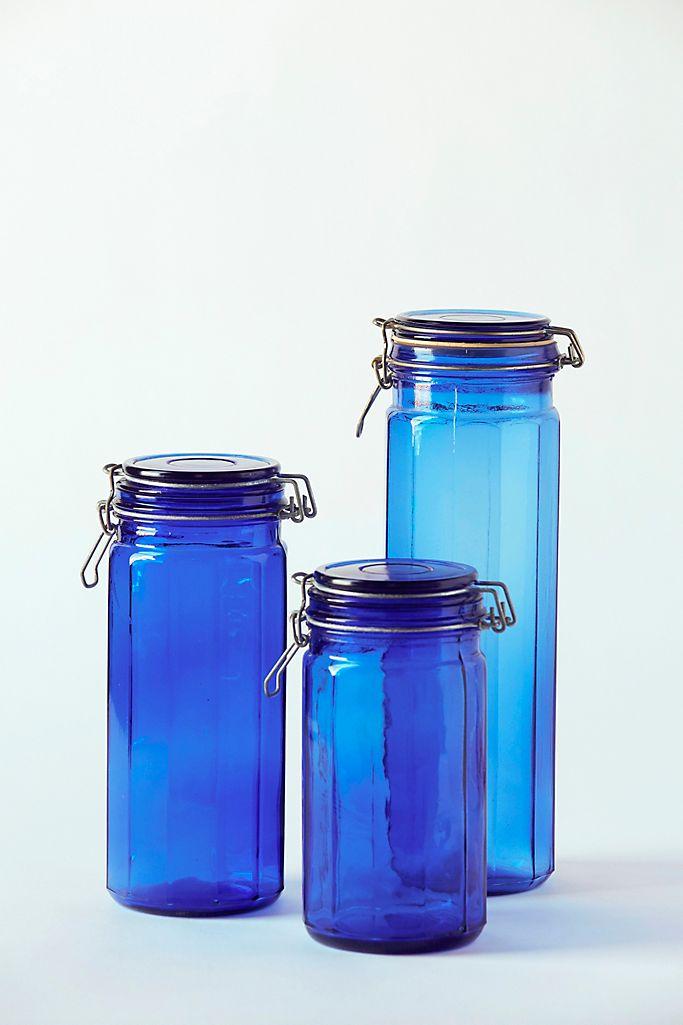Patina Vie Vintage Cobalt Glass Canisters Set Of 3 Anthropologie
