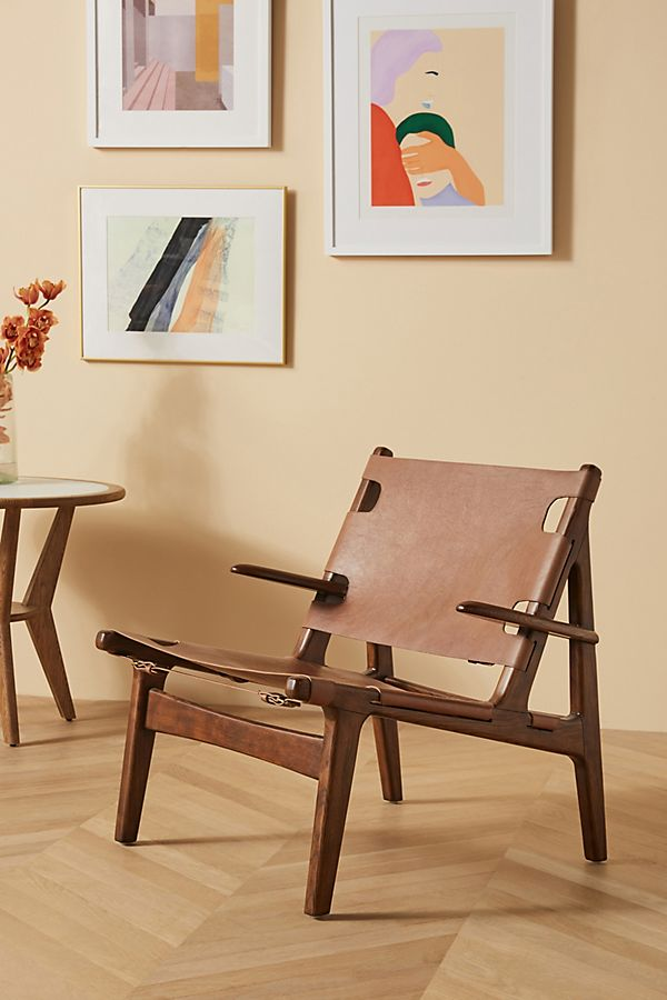 Slide View: 1: Soho Home x Anthropologie Santiago Leather Sling Chair