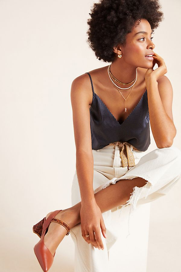 Slide View: 1: Olivia Striped Silk Cami
