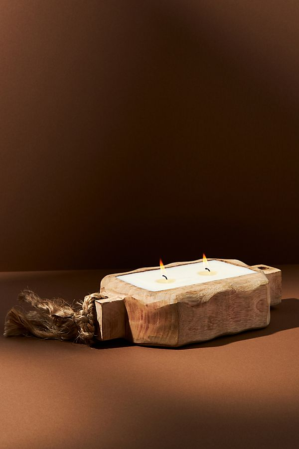 Slide View: 1: Driftwood Tray Candle