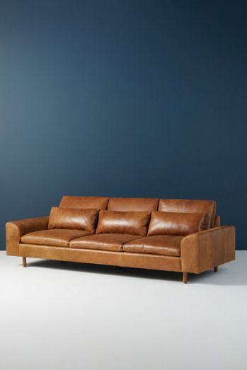 Mirren Three-Cushion Leather Sofa