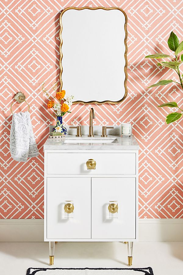 Slide View: 1: Lacquered Regency Powder Bathroom Vanity