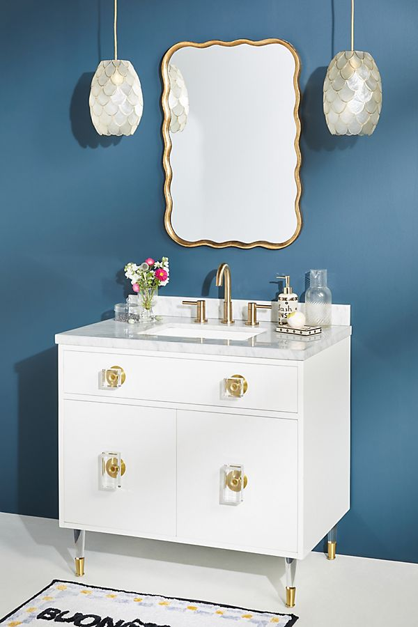 Slide View: 1: Lacquered Regency Single Bathroom Vanity