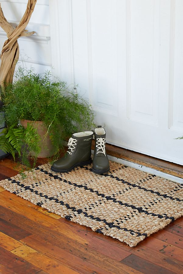 Slide View: 5: Windowpane Jute Doormat