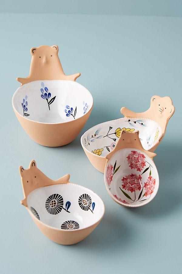 Slide View: 1: Ariya Ceramic Bear Measuring Cups, Set of 4