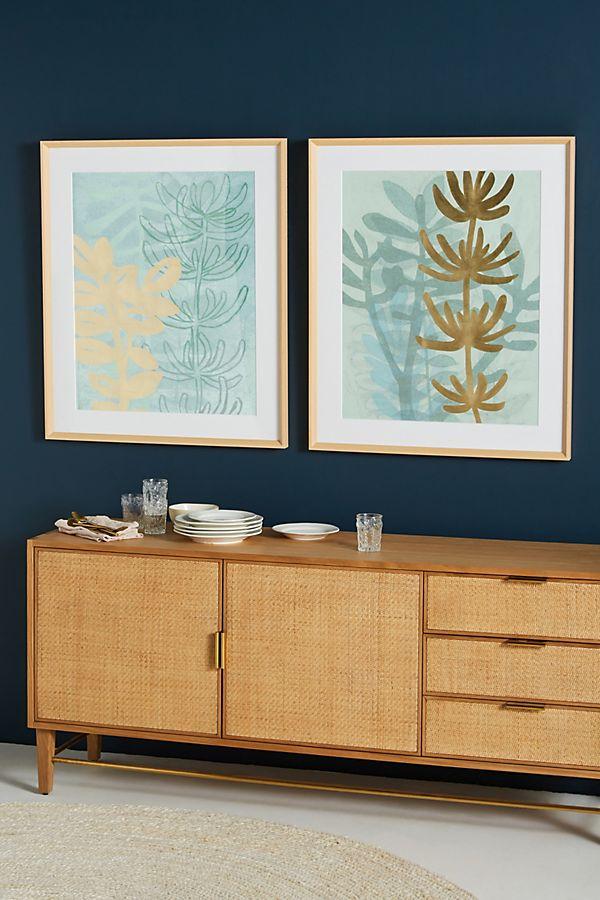 Slide View: 2: Gold Aqua Ferns Wall Art