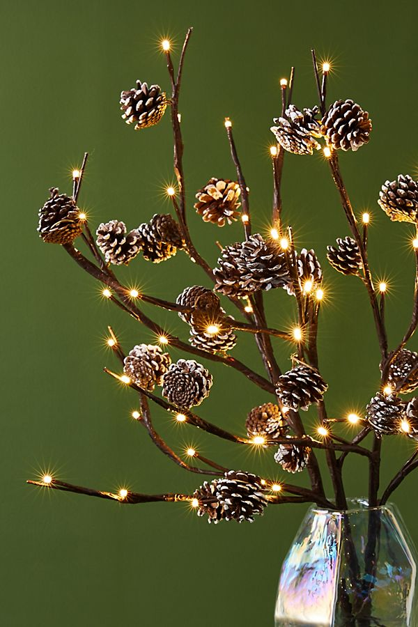 Slide View: 1: Twinkling Pinecone Branches