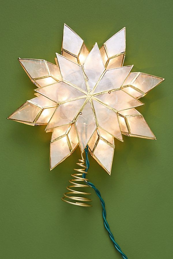 Slide View: 2: Illuminated Capiz Star Tree Topper