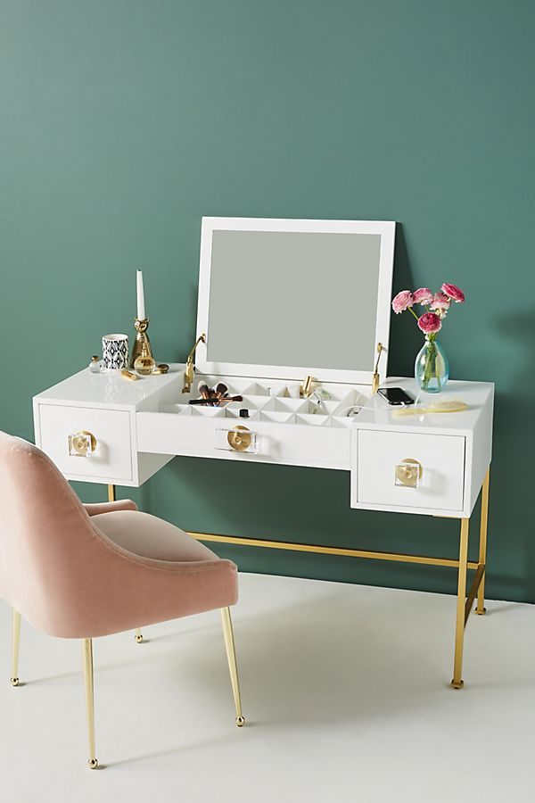 Slide View: 1: Lacquered Regency Makeup Vanity