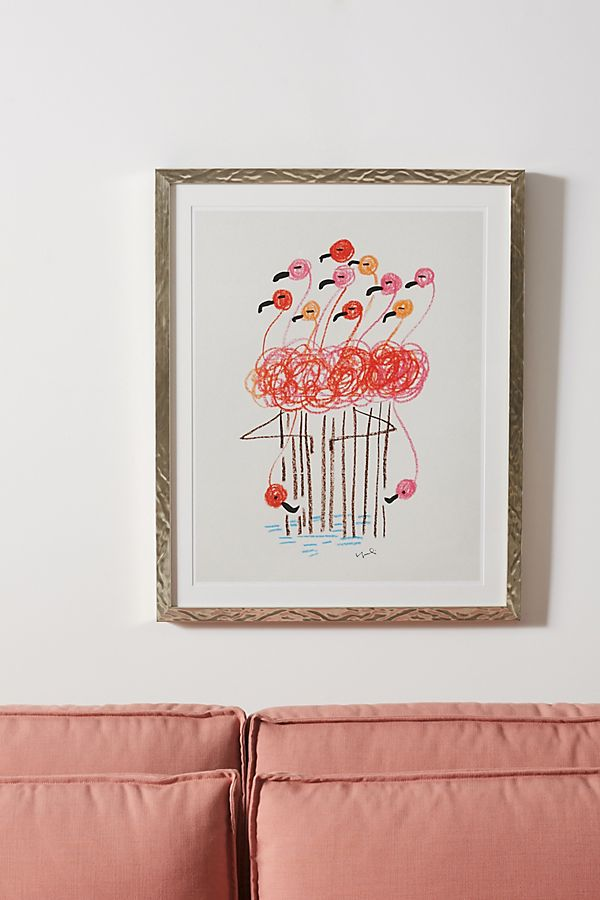 Slide View: 1: Flamingo Bouquet Wall Art