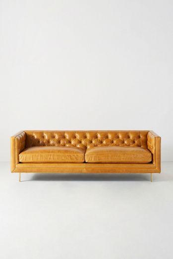 Mina Leather Two-Cushion Sofa