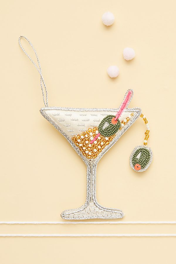Slide View: 1: Beaded Martini Ornament