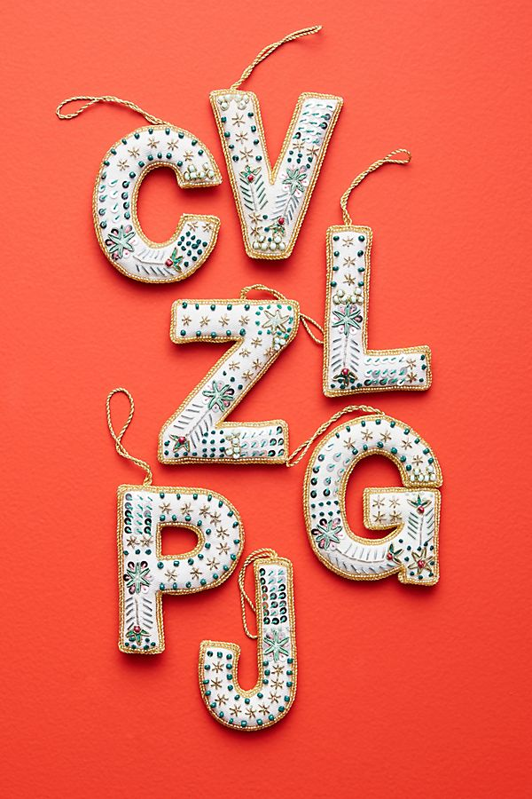 Slide View: 1: Embellished Monogram Ornament