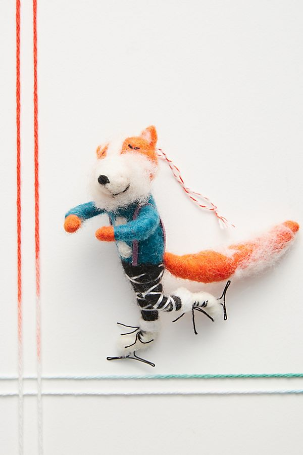 Slide View: 1: Figure Skating Fox Ornament
