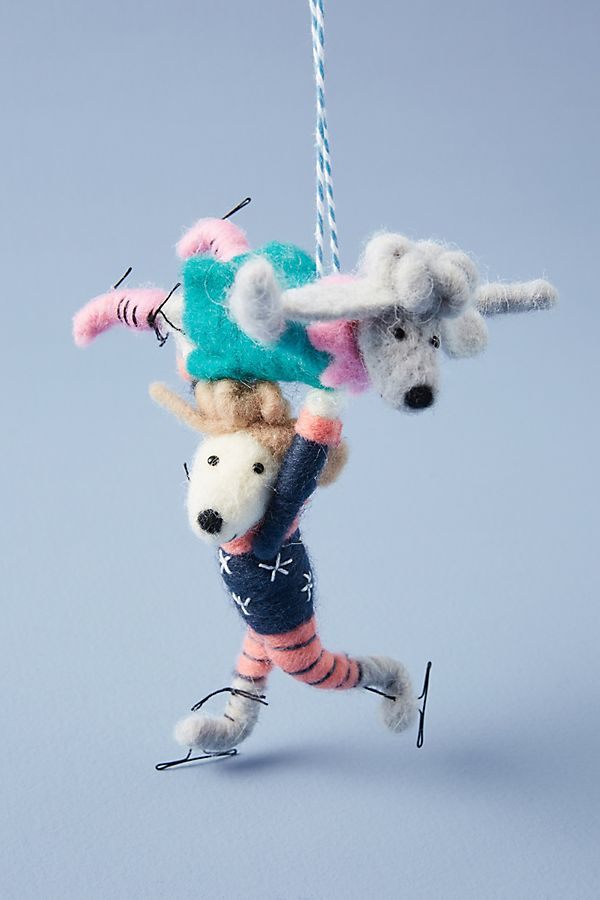 Slide View: 1: Ice Skating Poodles Ornament