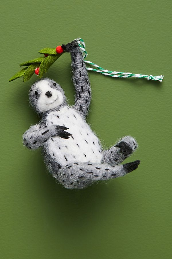 Slide View: 1: Mistletoe Sloth Ornament