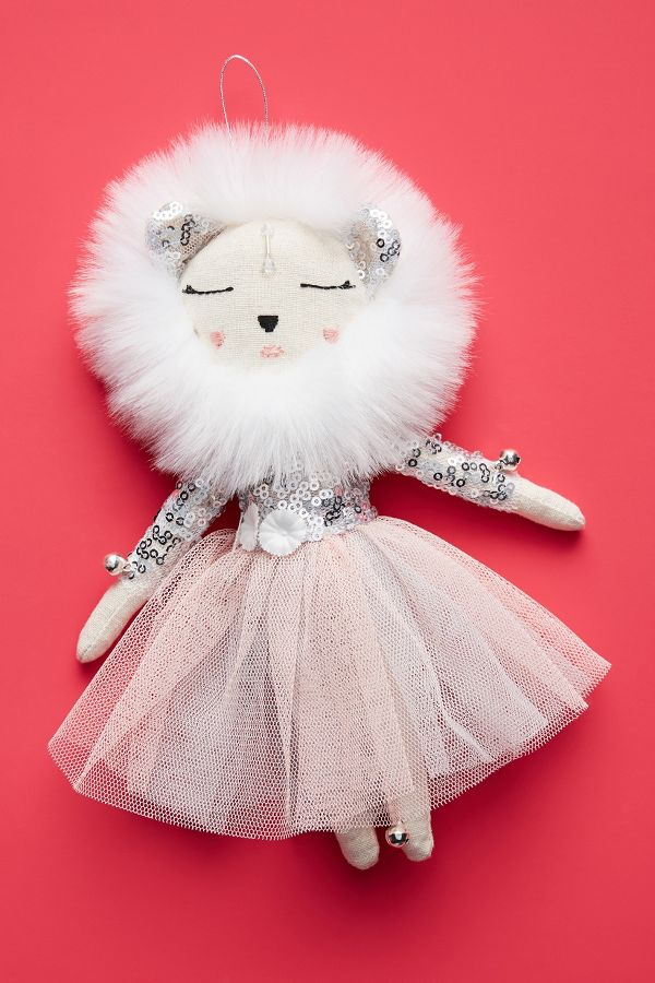 Alice Mary Lynch Snow Queen Lioness Ornament - Come discover Pretty Pink Christmas Decor Inspiration with holiday interiors as well as shopping resources. #pinkChristmas #holidaydecor #christmasdecorating