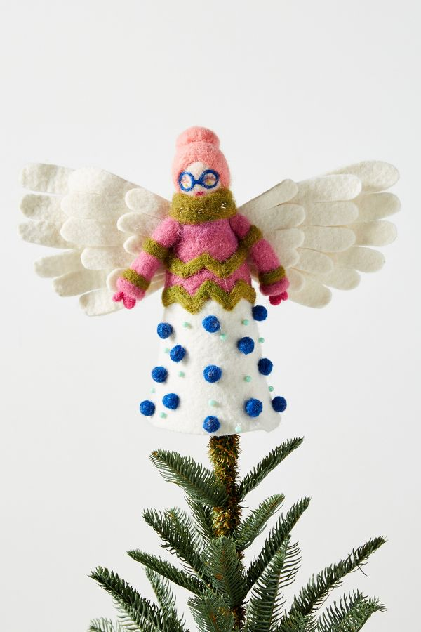 Quirky Angel Tree Topper - Come discover Pretty Pink Christmas Decor Inspiration with holiday interiors as well as shopping resources. #pinkChristmas #holidaydecor #christmasdecorating