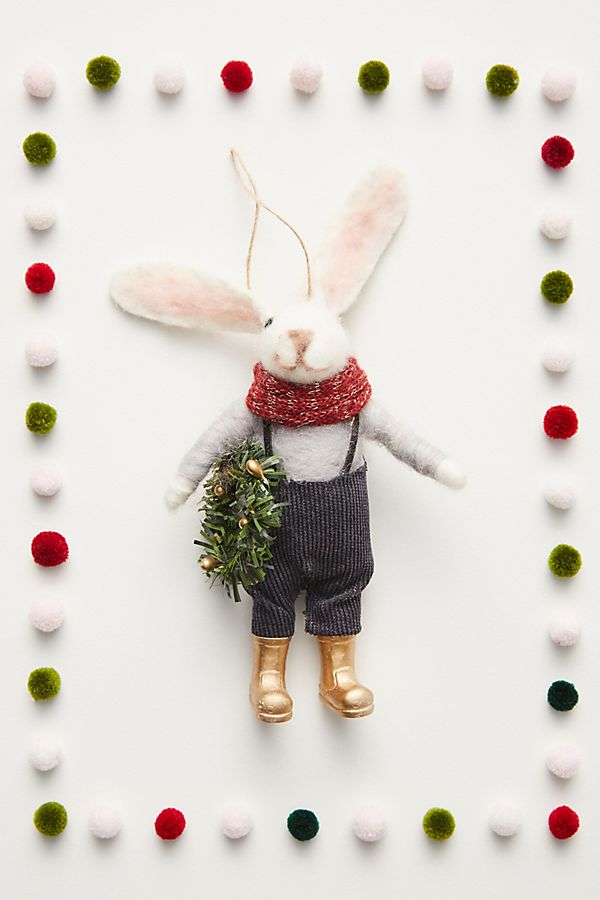 Slide View: 1: Rabbit Farmer Ornament