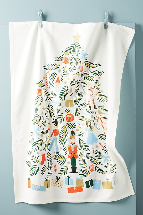 Slide View: 1: Rifle Paper Co. for Anthropologie Nutcracker Dish Towel
