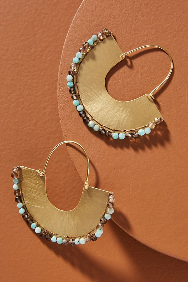 Isobel Stitched Hoop Earrings by Anthropologie