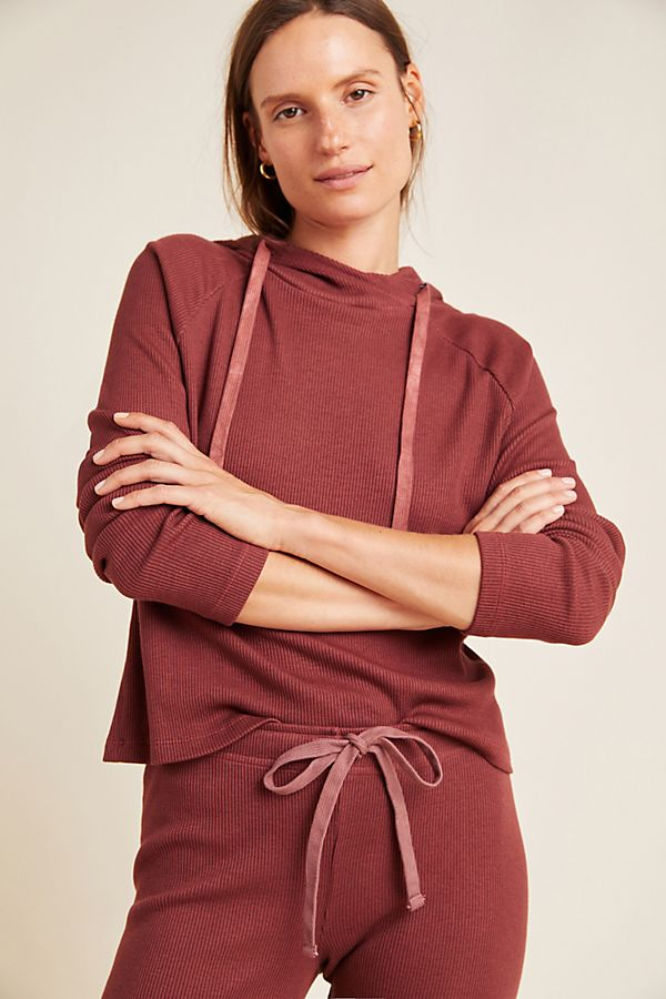 Slide View: 1: Cassidy Ribbed Cross-Back Hoodie