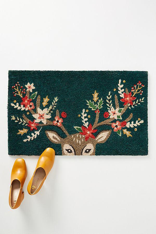 Slide View: 1: Decorated Deer Doormat