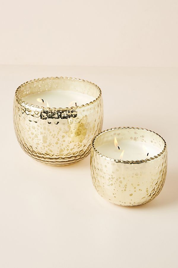Slide View: 1: Hammered Mercury Glass Candle