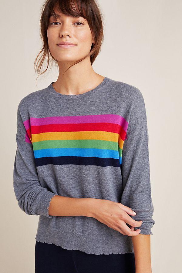 Slide View: 1: Sundry Rainbow Striped Sweatshirt