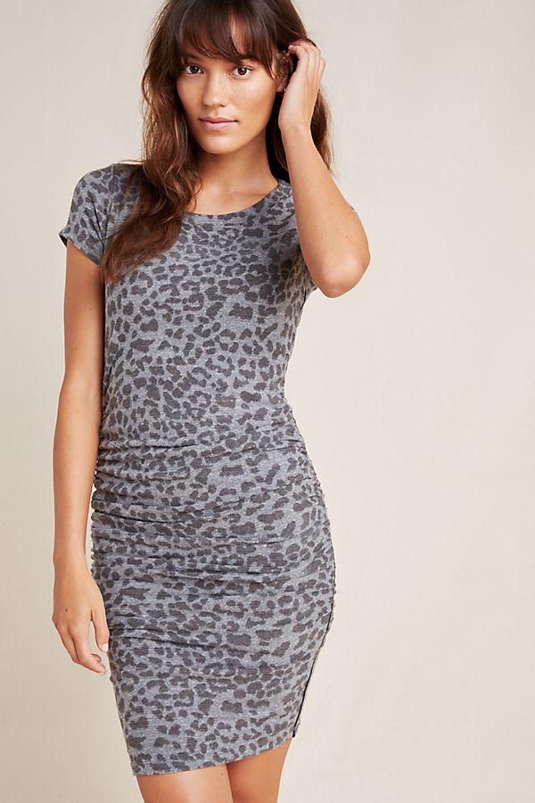 Slide View: 1: Sundry Ruched Leopard Mini Dress