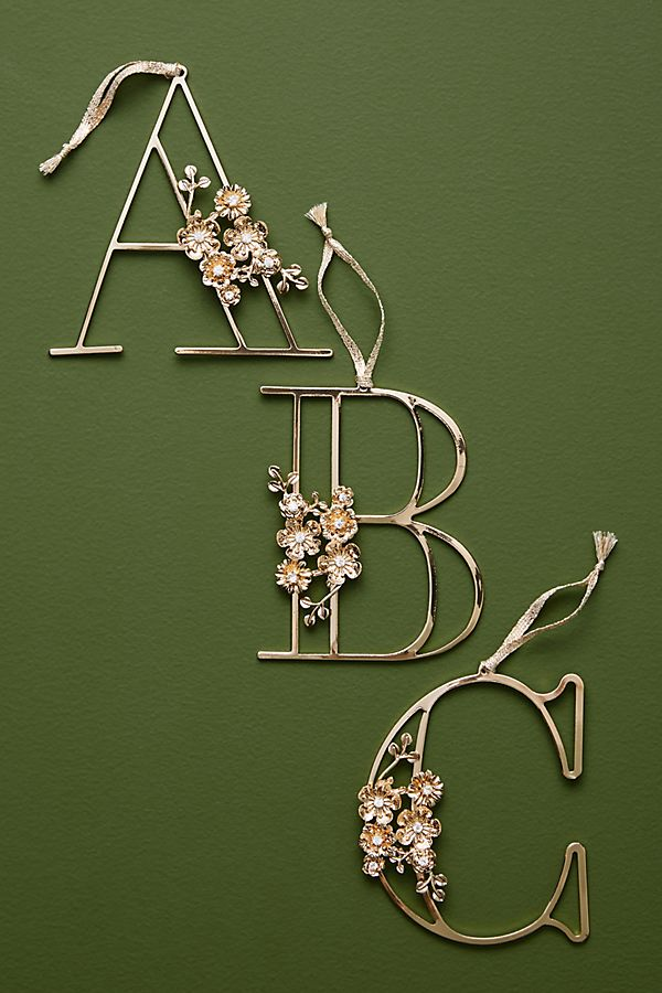 Floral Monogram Ornament by Anthropologie
