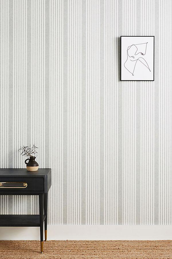 Slide View: 1: French Linen Stripe Wallpaper