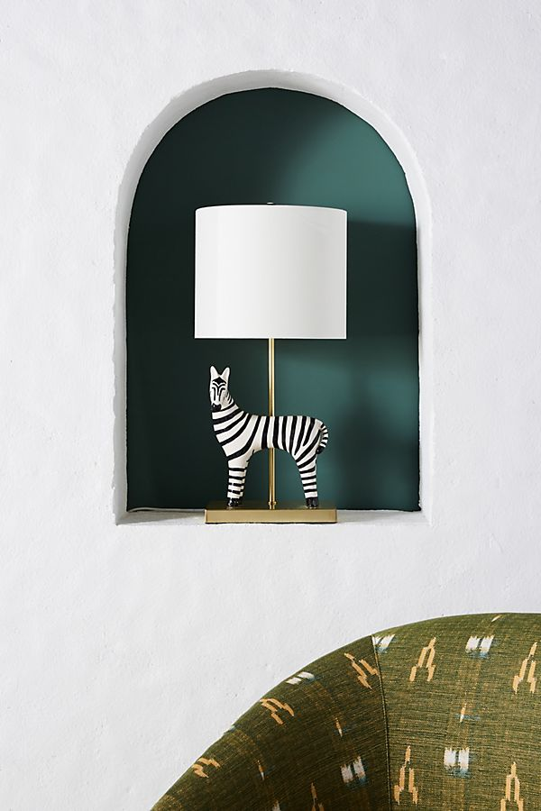 Slide View: 1: Ceramic Zebra Table Lamp