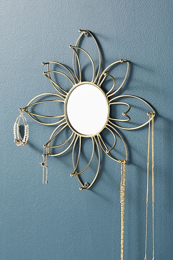 Slide View: 1: Mirrored Flower Jewelry Organizer