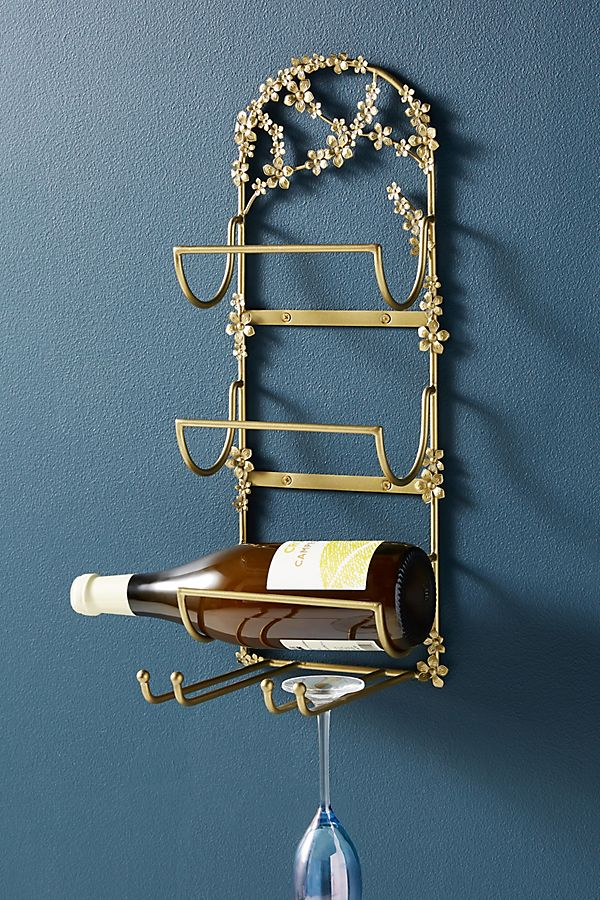 Slide View: 1: Isla Floral Wall Mounted Wine Rack