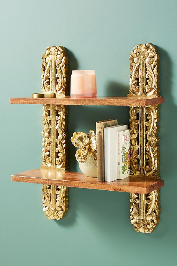 Slide View: 1: Kaylee Wooden Two-Tier Shelf