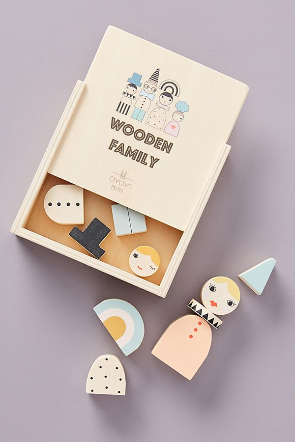 Slide View: 1: Wooden Family Blocks Toy