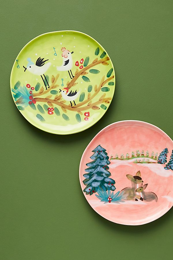 Slide View: 1: Scenic Woodland Dessert Plate