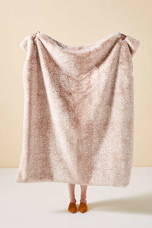 Slide View: 1: Fawn Faux Fur Throw Blanket