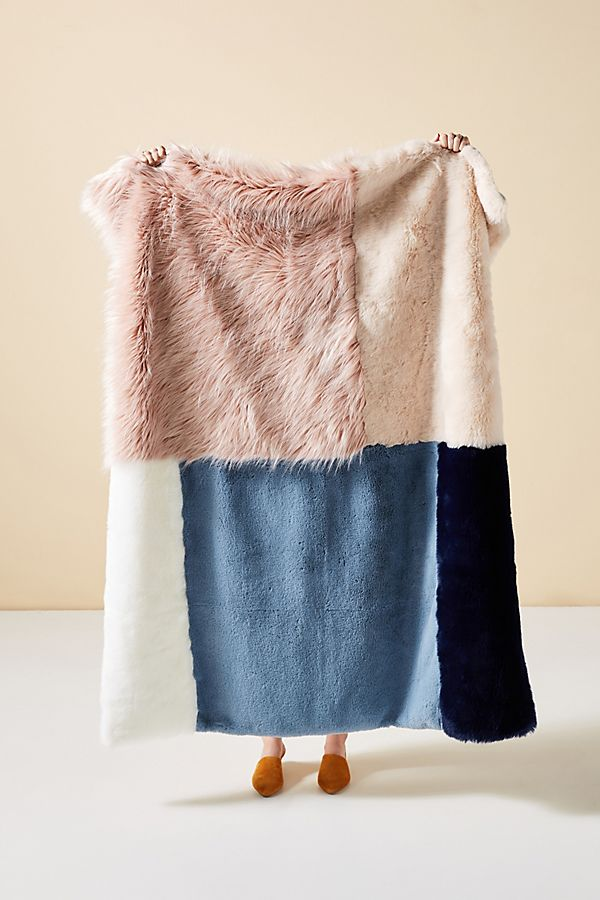 Slide View: 1: Tara Faux Fur Throw Blanket