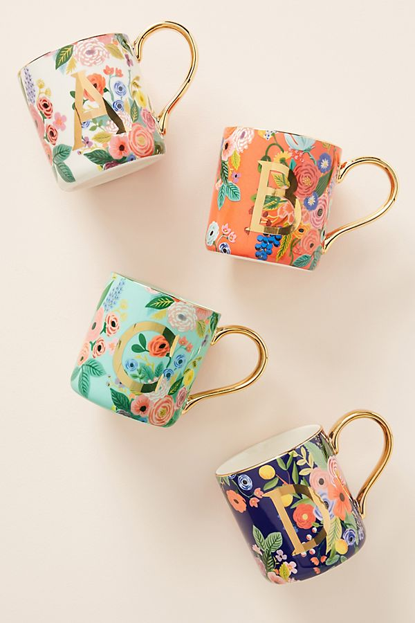 Rifle Paper Co. For Anthropologie Garden Party Monogram Mug by Rifle Paper Co.