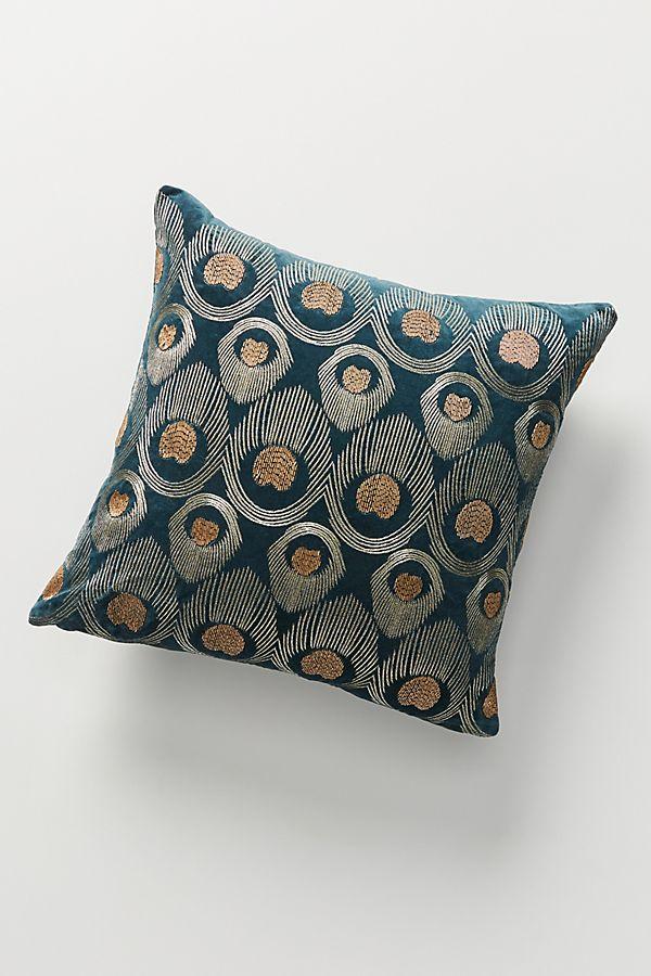 Slide View: 1: Beaded Velvet Peacock Pillow