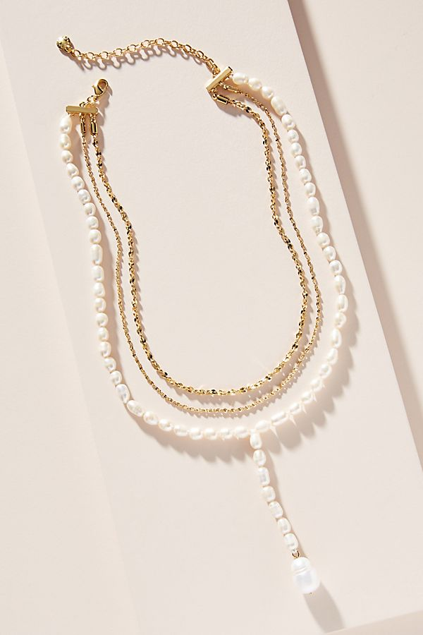 BaubleBar Pearl Chain Lariat Necklace