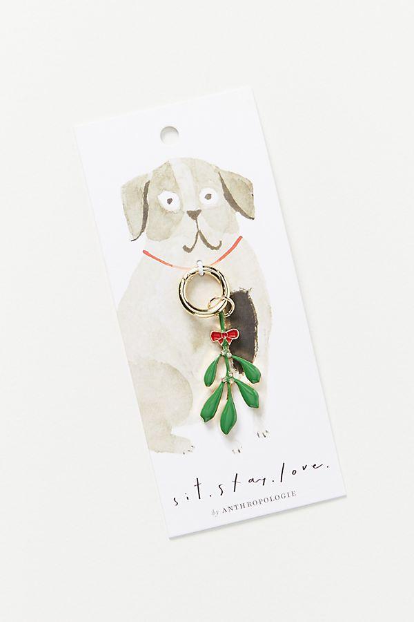 Slide View: 1: Mistletoe Dog Collar Charm