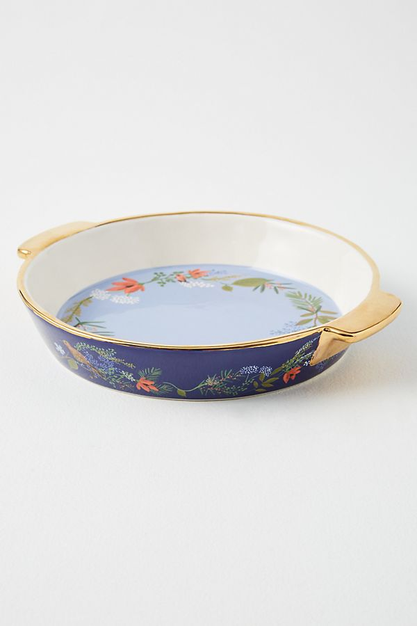 Slide View: 1: Rifle Paper Co. for Anthropologie Winter Floral Pie Dish