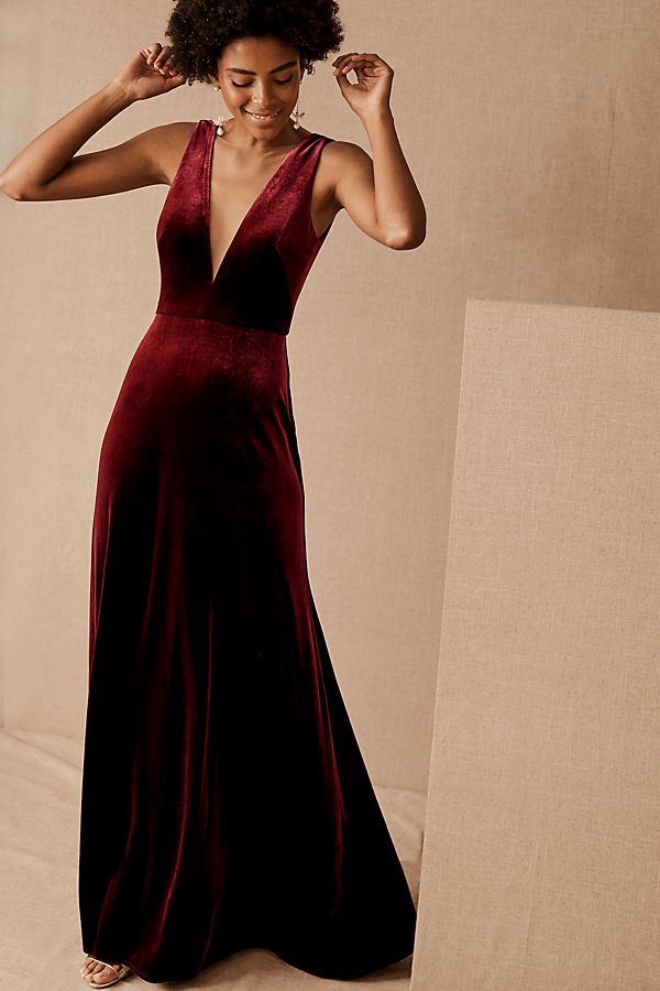Slide View: 1: Jenny Yoo Logan Velvet Dress