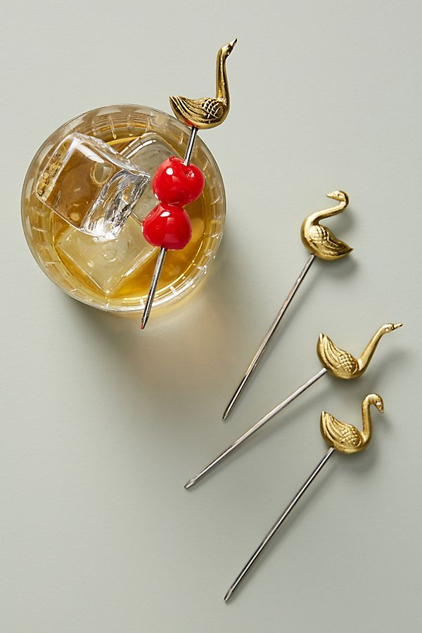 Slide View: 1: Swan Cocktail Picks, Set of 4