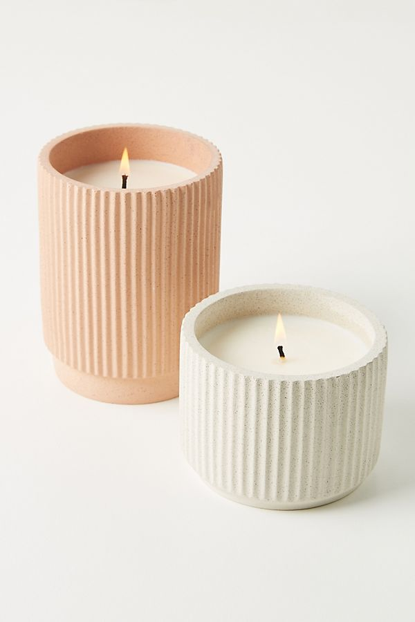 Slide View: 2: Capri Blue Ribbed Concrete Candle