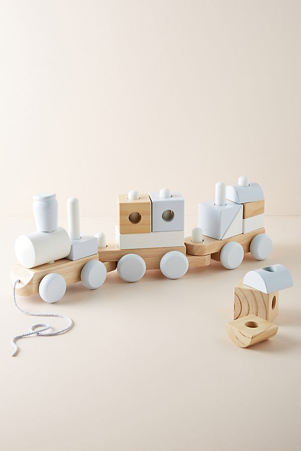 Slide View: 1: Wooden Block Train Toy